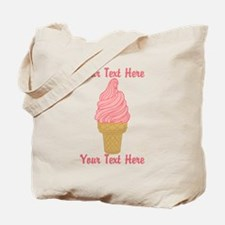 Personalized Pink Ice Cream Tote Bag
