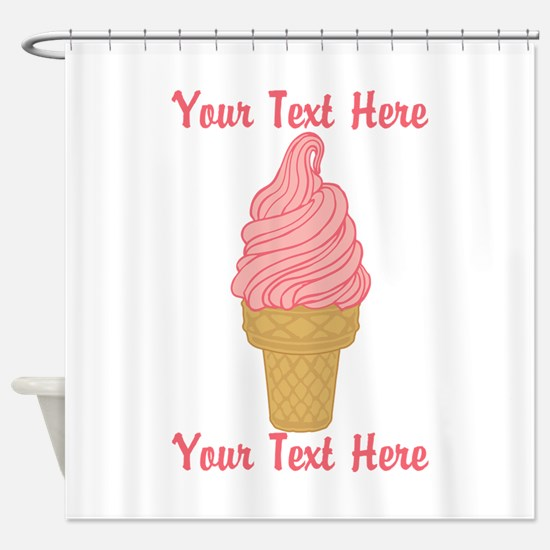 Personalized Pink Ice Cream Shower Curtain
