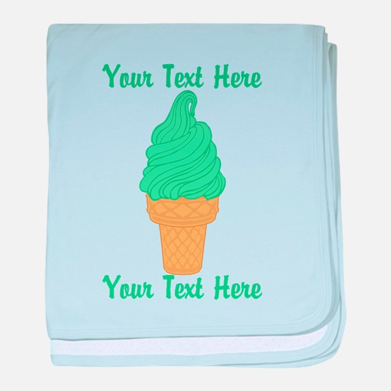 Personalized Mint Ice Cream baby blanket