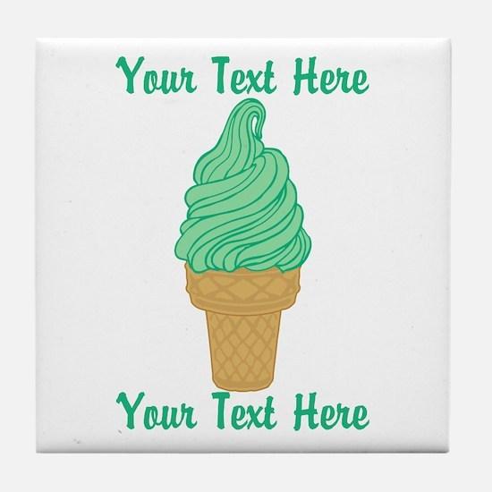 Personalized Mint Ice Cream Tile Coaster