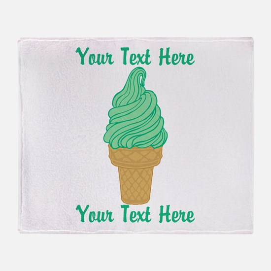Personalized Mint Ice Cream Throw Blanket