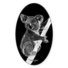 Midnight Koala Oval Stickers