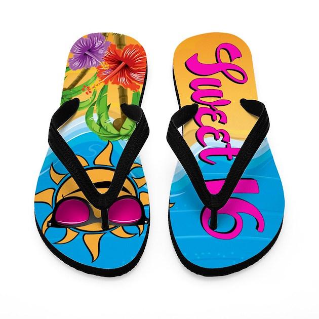 Sweet 16 Beach Party Flip Flops By Stargazerdesignsbirthday