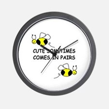 CUTE SOMETIMES COMES IN PAIRS Wall Clock