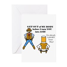 GET OUT OF MY BODY (CIGARETTES) Greeting Cards (Pk