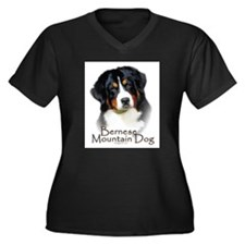 Bernese Mountain Dog Women's Plus Size V-Neck Dark