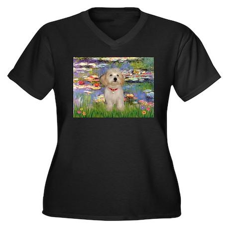 Lilies & Havanese Pup Women's Plus Size V-Neck Da