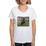 Lilies2/Rottweiler Women's V-Neck T-Shirt