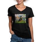 Lilies2/Rottweiler Women's V-Neck Dark T-Shirt