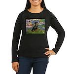 Lilies2/Rottweiler Women's Long Sleeve Dark T-Shir