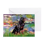 Lilies2/Rottweiler Greeting Cards (Pk of 10)