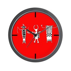 Petroglyph Peoples Red Wall Clock