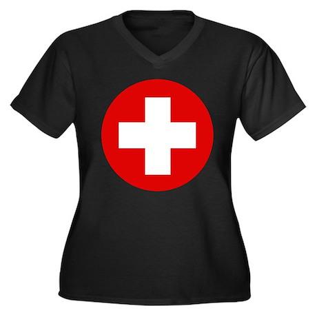 First Aid Kit Women's Plus Size V-Neck Dark T-Shir