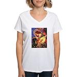 Mandolin Angel/Rottweiler Women's V-Neck T-Shirt