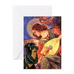 Mandolin Angel/Rottweiler Greeting Card