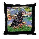 Lilies2/Rottweiler Throw Pillow