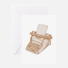 Vintage Old Style Typewriter Etching Greeting Card