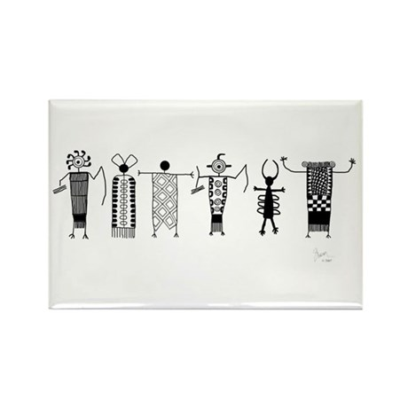 Group of Petroglyph Peoples Rectangle Magnet (10 p