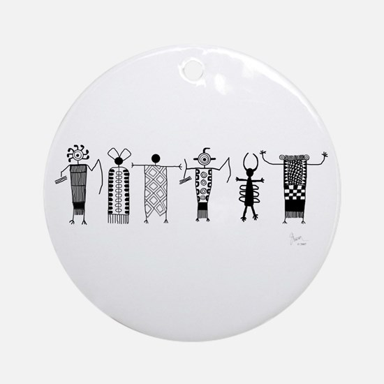 Group of Petroglyph Peoples Ornament (Round)