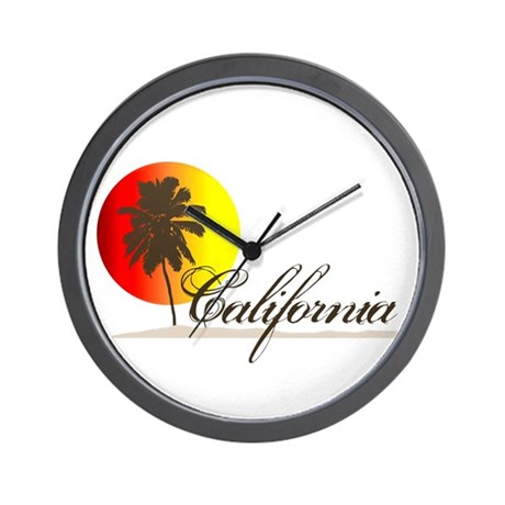 California Beaches Sunset Logo Wall Clock