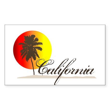 California Beaches Sunset Logo Sticker (Rectangula