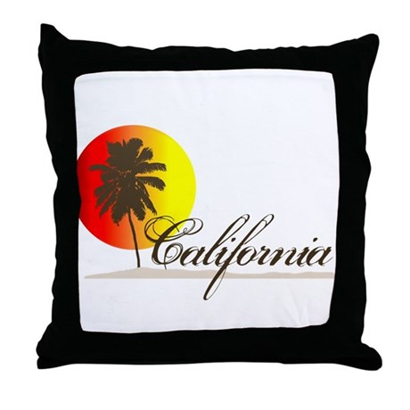 California Beaches Sunset Logo Throw Pillow