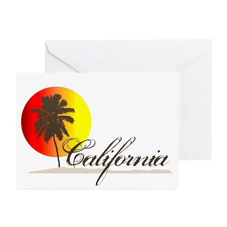 California Beaches Sunset Logo Greeting Cards (Pk