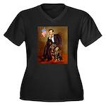 Lincoln's Rottweiler Women's Plus Size V-Neck Dark