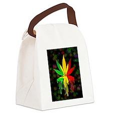 Marijuana Leaf Rasta Colors Dripping Paint Canvas