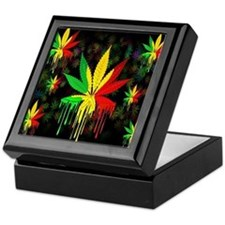 Marijuana Leaf Rasta Colors Dripping Paint Keepsak