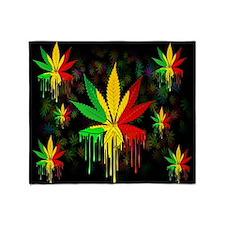 Marijuana Leaf Rasta Colors Dripping Paint Throw B