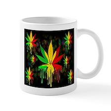 Marijuana Leaf Rasta Colors Dripping Paint Mugs