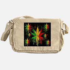 Marijuana Leaf Rasta Colors Dripping Paint Messeng