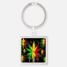 Marijuana Leaf Rasta Colors Dripping Paint Keychai