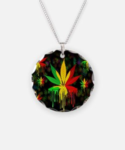 Marijuana Leaf Rasta Colors Dripping Paint Necklac