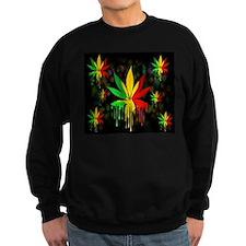Marijuana Leaf Rasta Colors Dripping Paint Sweatsh