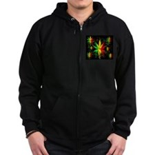 Marijuana Leaf Rasta Colors Dripping Paint Zipped Hoodie