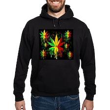 Marijuana Leaf Rasta Colors Dripping Paint Hoody