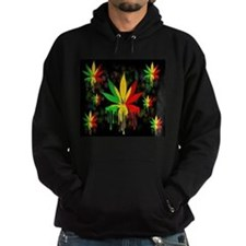 Marijuana Leaf Rasta Colors Dripping Paint Hoodie