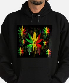 Marijuana Leaf Rasta Colors Dripping Paint Hoody