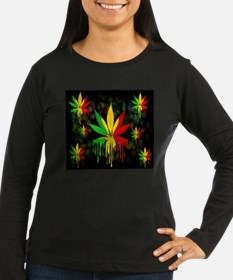 Marijuana Leaf Rasta Colors Dripping Paint Long Sl