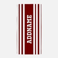 Red and White Stripes Jersey Personali Beach Towel