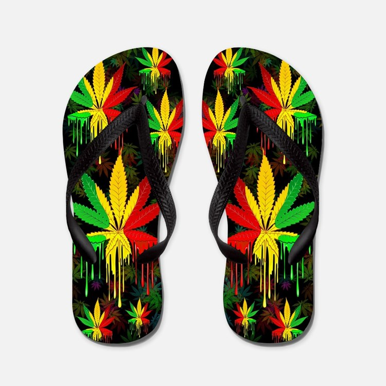Marijuana Leaf Rasta Colors Dripping Paint Flip Fl