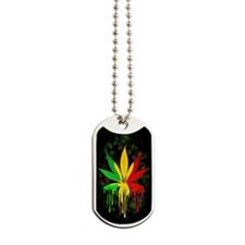 Marijuana Leaf Rasta Colors Dripping Paint Dog Tag