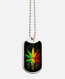 Marijuana Leaf Rasta Colors Dripping Paint Dog Tag