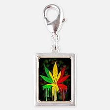 Marijuana Leaf Rasta Colors Dripping Paint Charms