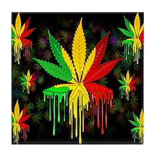 Marijuana Leaf Rasta Colors Dripping Paint Tile Co