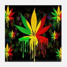 Marijuana Leaf Rasta Colors Dripping Paint Tile Co
