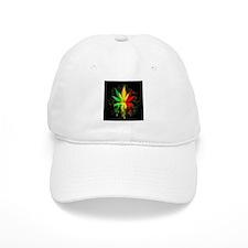 Marijuana Leaf Rasta Colors Dripping Paint Basebal