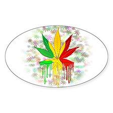 Marijuana Leaf Rasta Colors Dripping Paint Decal